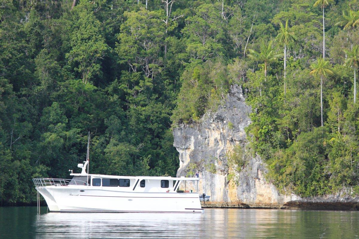 Bruce Harris ocean going long range cruiser:in beautifull Raja Ampat Indonesia