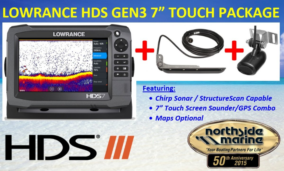 Lowrance HDS-7 Gen3 Touch + 83/200kHz Transducer + StructureScan LSS-2 Transducer Package (No Maps)