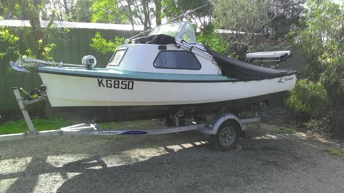 Savage Dolphin Savage Dolphin + Dunbier trailer + Dingy + 2.5 hp + swing mooring at Queenscliff