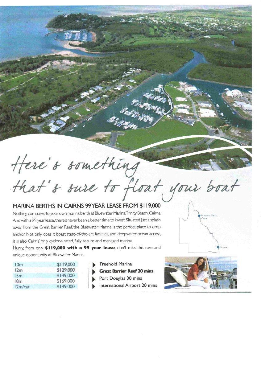 15 m Marina berth in Bluewater Marina Trinity Park Cairns