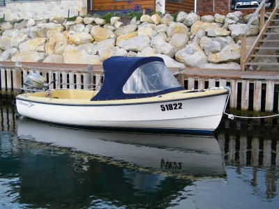Savage Dolphin 16 foot fibreglass dinghy. Honda outboard.