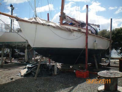 Classic Timber Gaff Sloop:On hard