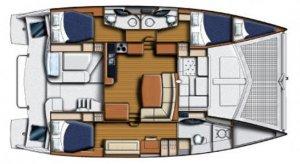 Leopard Catamarans 44 Owner's Version Three Cabin Layout