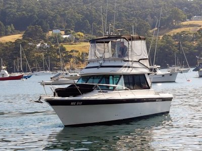 Riviera 32 Flybridge Twin 200hp Volvo shaft drive diesels.