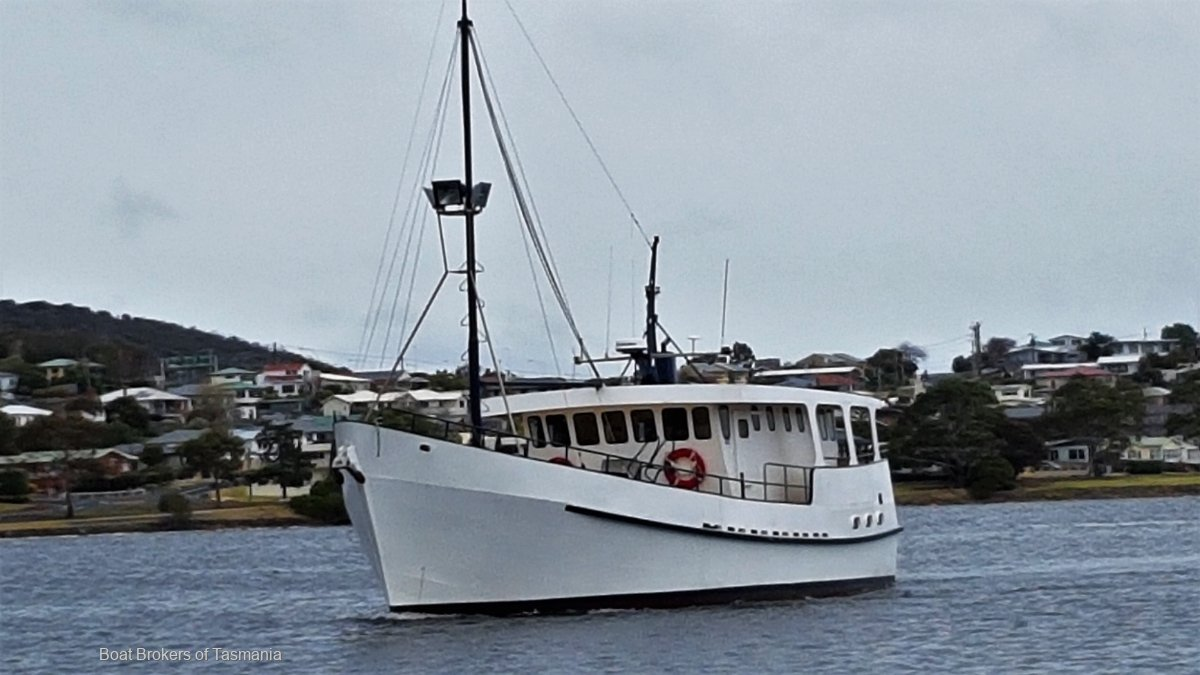 Furneaux Explorer Lacco Pilot House Motor Sailer Gardner powered 6 ml steel ex charter vessel. Boat Brokers of Tasmania