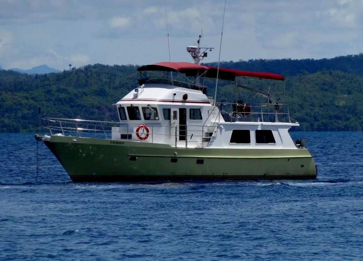 Seahorse 52 Trawler-style Long Range Cruiser:At anchor