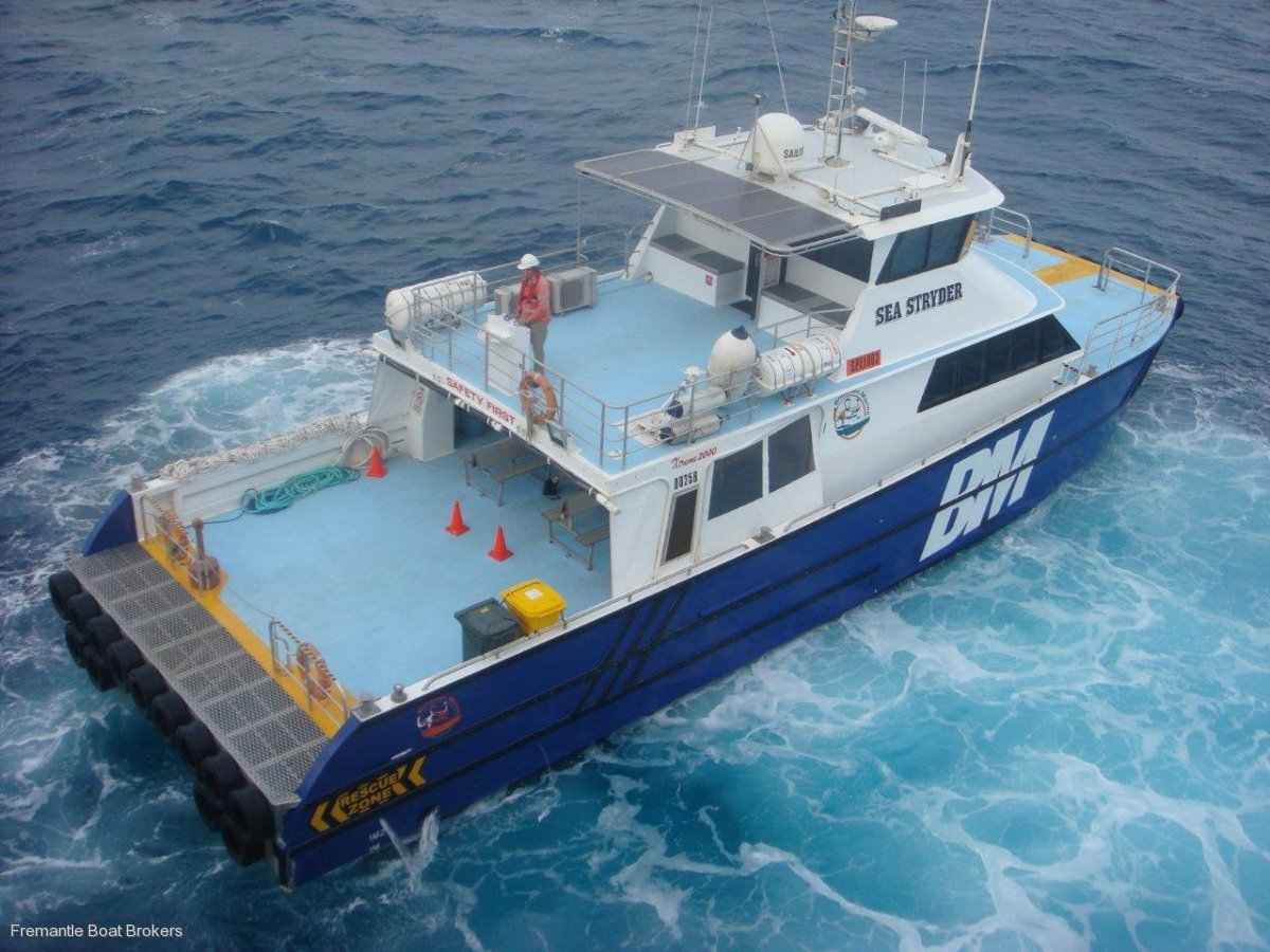 Catamaran twin jet utility transfer vessel commercial for Catamaran fishing boats for sale
