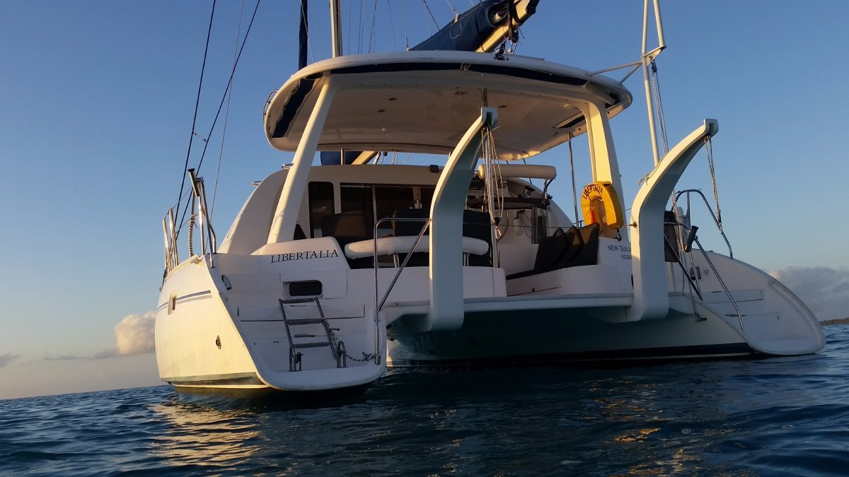 Leopard 40 Owners Version Ready for cruising:Libertalia at anchor