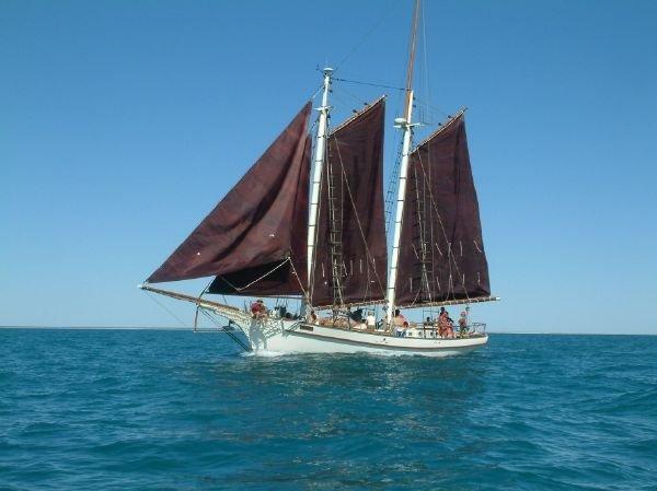 Traditional gaff rigged schooner