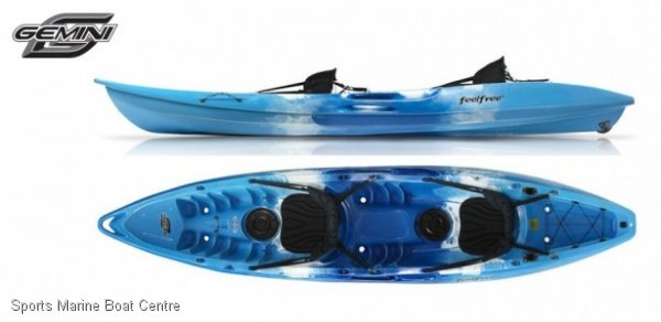 Feel Free Gemini 2 person kayak built in wheel