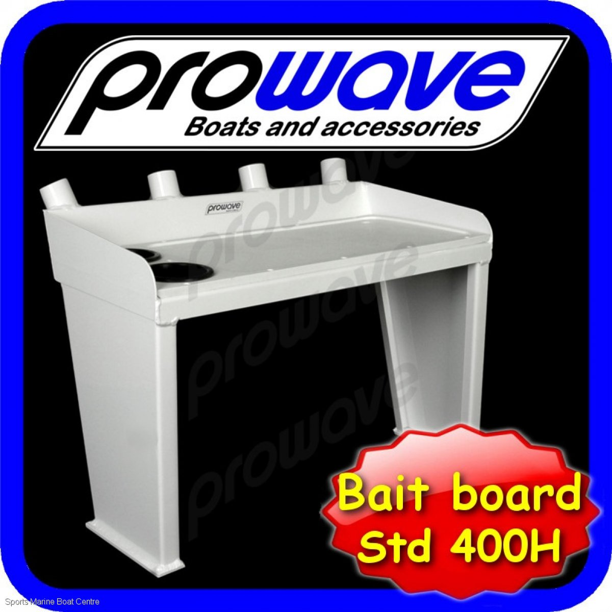 Proline bait board with 4 rod holders and 2 drink holders