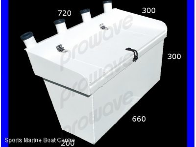 Bait board with live bait tank and 4 rod holders
