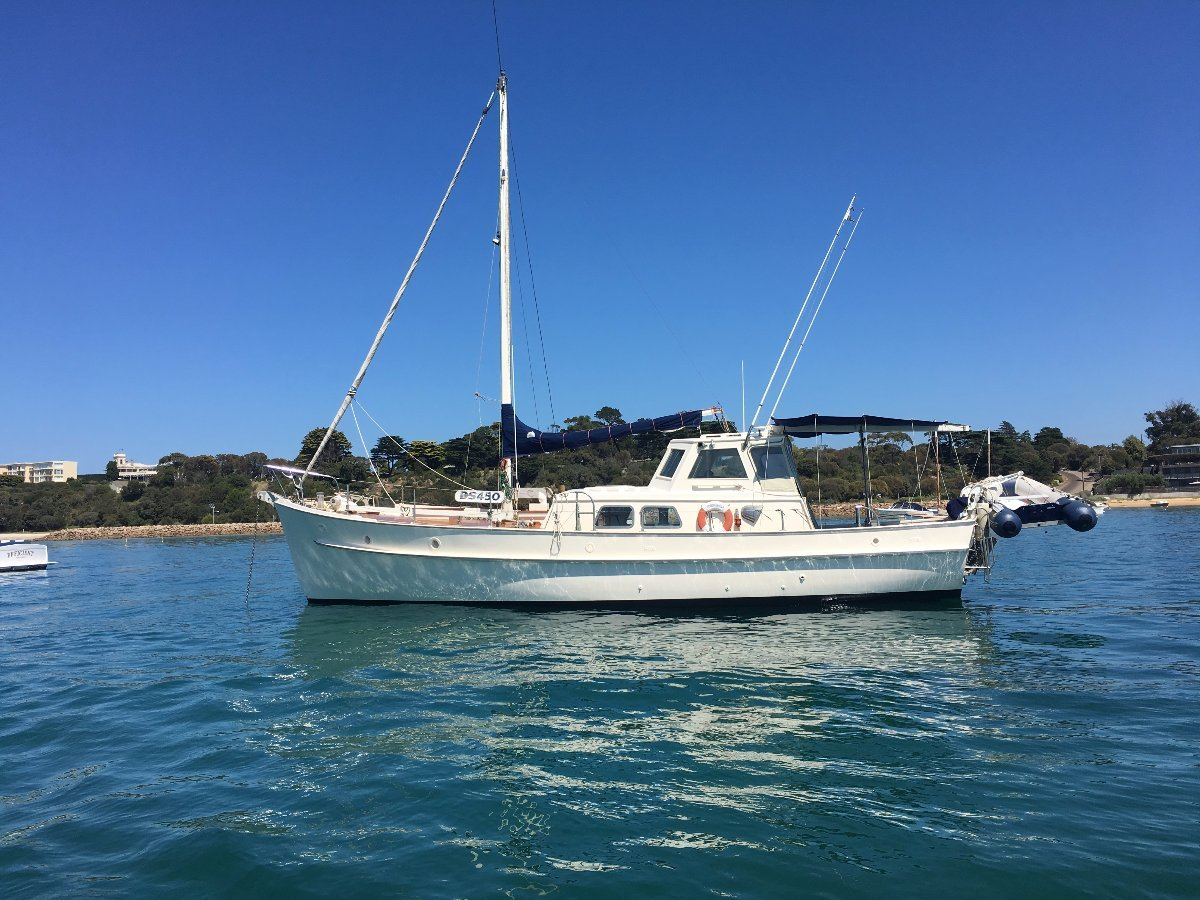 Timber Motor Sailer, Huon Pine Wooden Classic