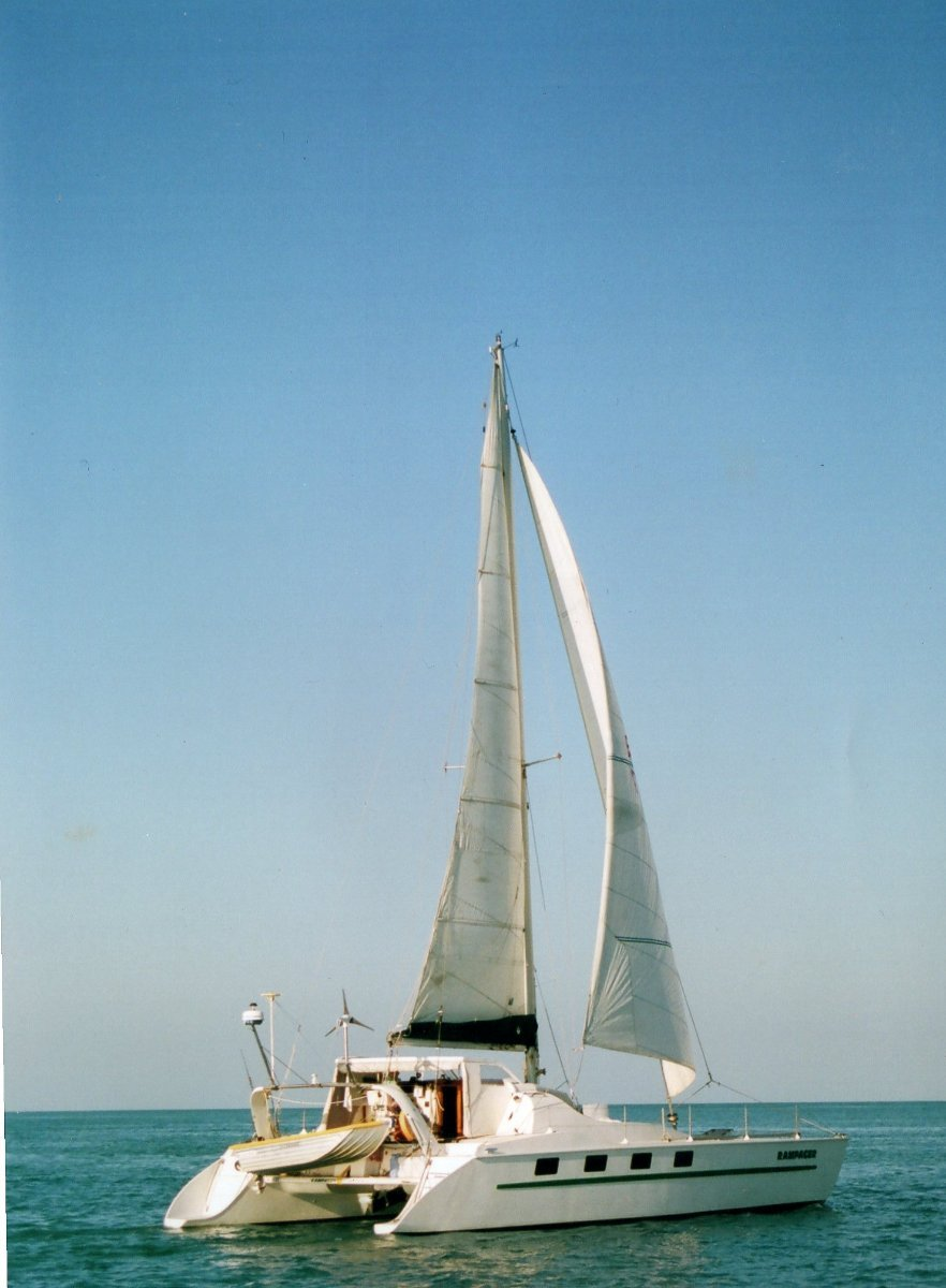 Fastback 43 Fastback 43' with extended transoms to 46':Rampager under sail