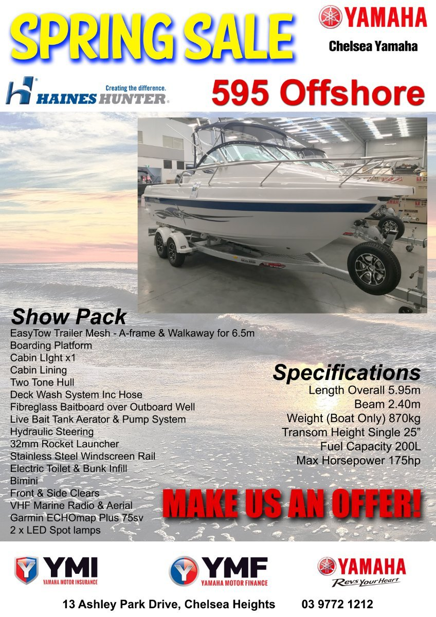 Haines Hunter 595 Offshore powered with 175HP Yamaha 4 stroke $77900