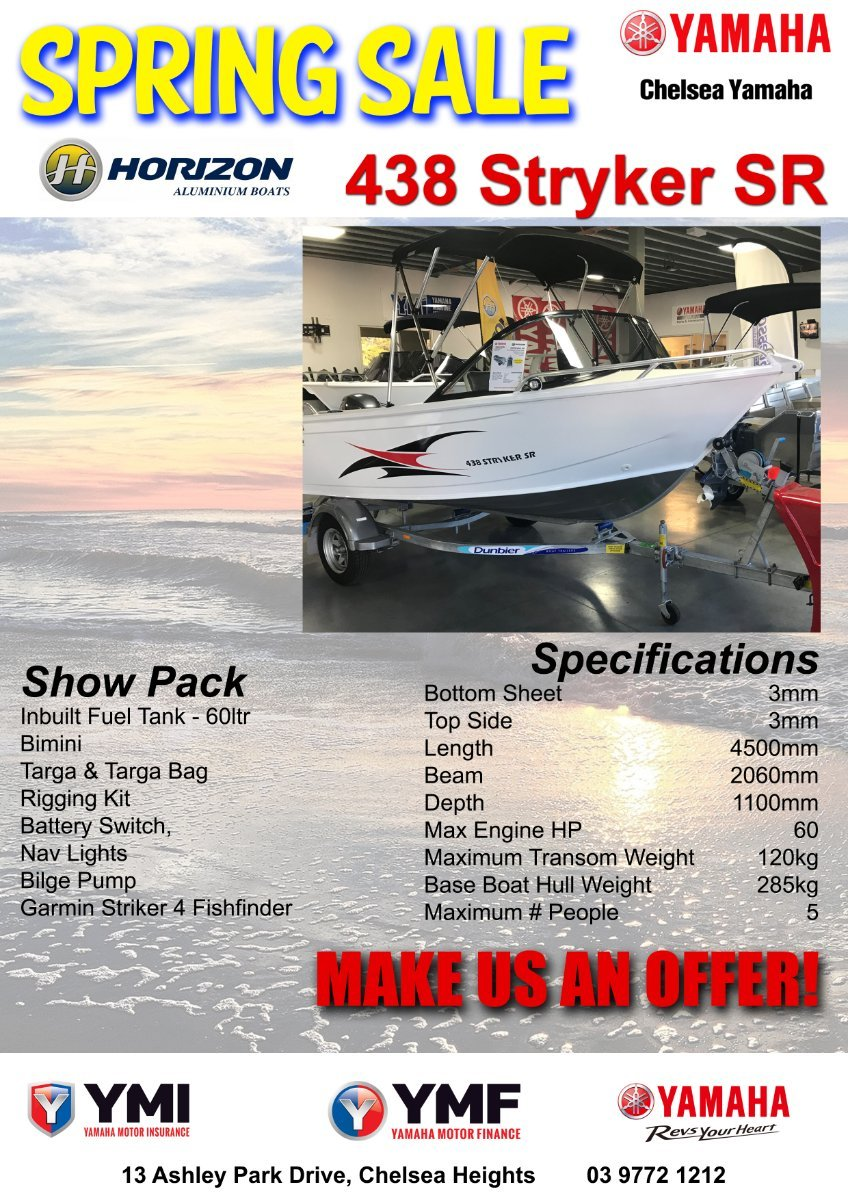 Horizon Aluminium Boats 438 Stryker powered with 40hp Yamaha Four Stroke Outboard