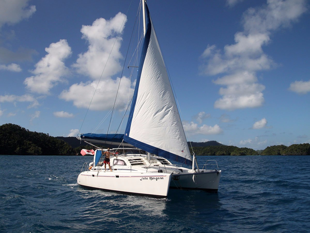 Robertson and Caine Leopard 38:S/V Fata Morgana under sail in Fiji