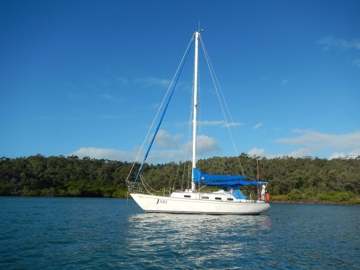 Sparkman & Stephens 34 Option to buy lease10m berth at Tin Can Bay Marina:At anchor on the Coral Coast