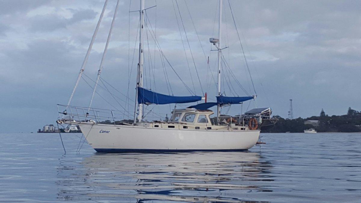South Coast 36 Ketch:Caree at anchor