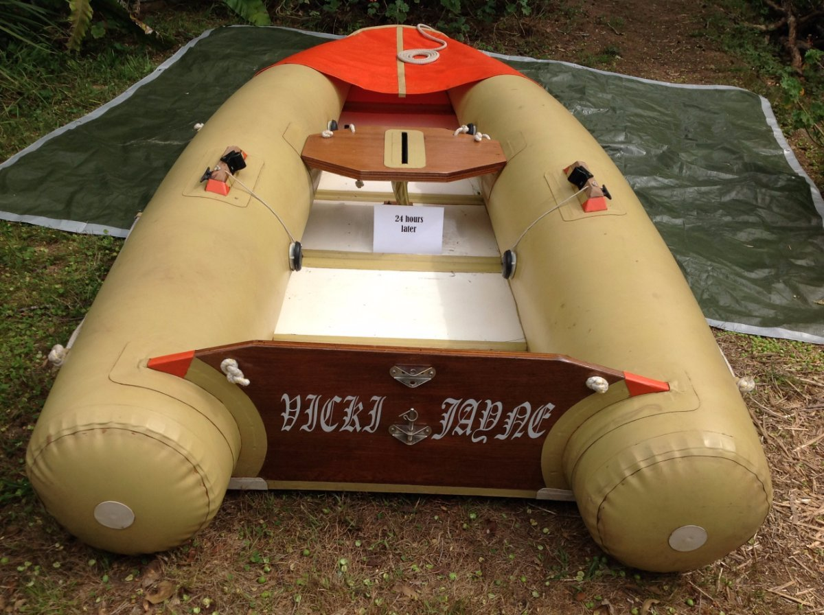 Tinker Tramp inflatable sailing dinghy:24 hours after initial inflation.