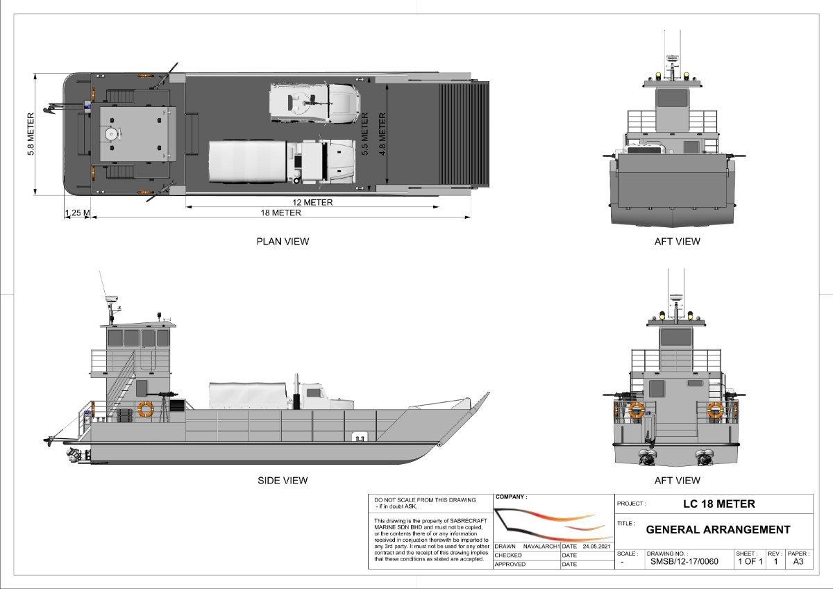 Sabrecraft Marine Landing Craft 18 Meter Work Boat Barge