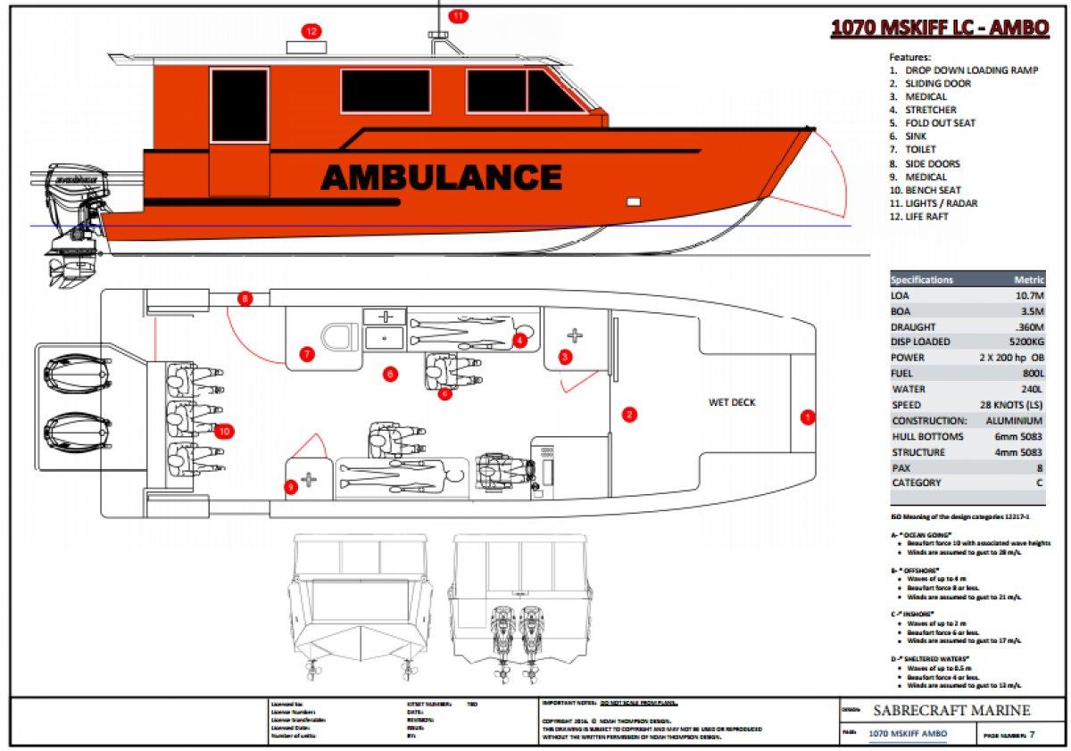 Sabrecraft Marine Ambulance Rescue Boat 11000m Tri Hull
