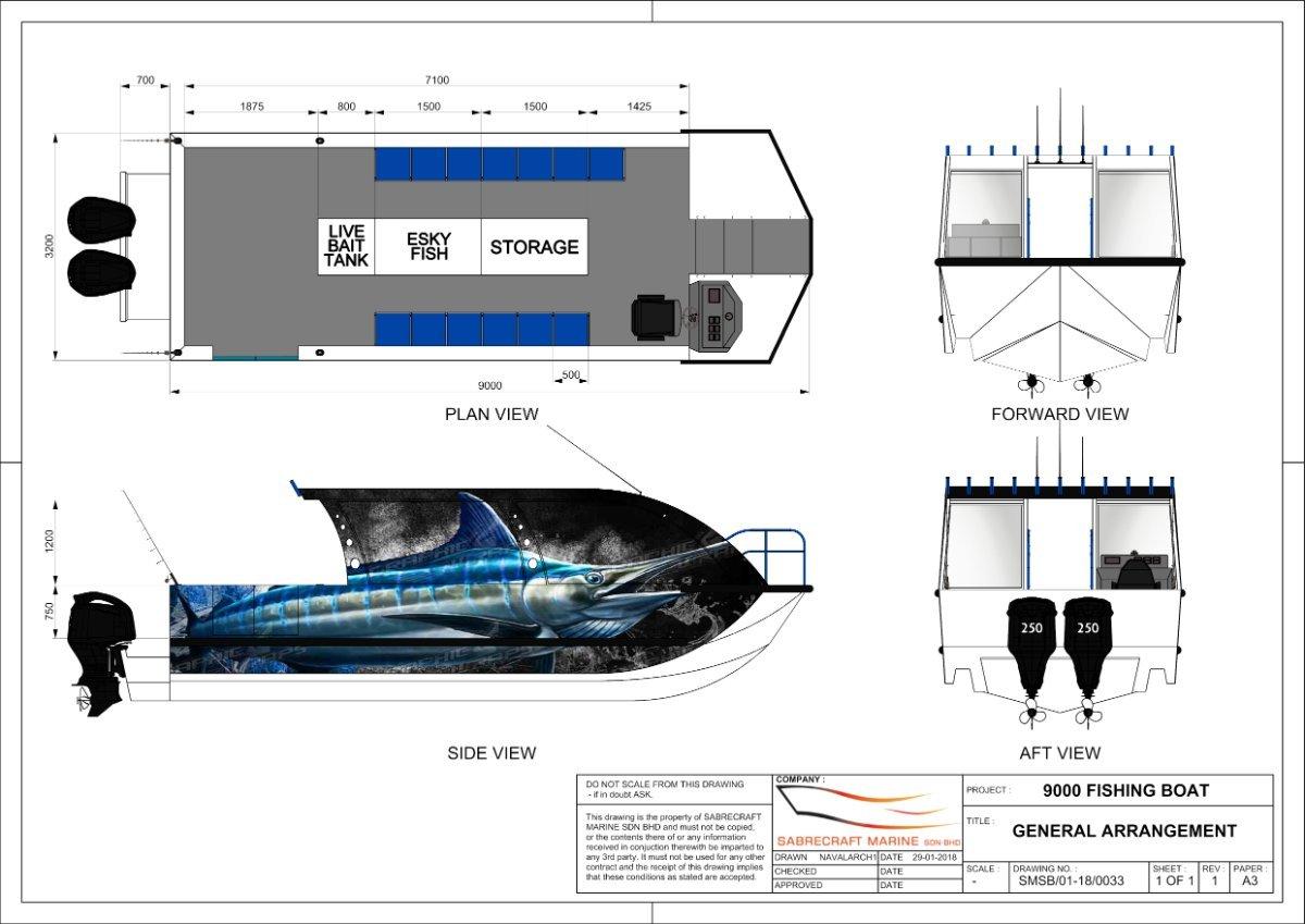 Sabrecraft Marine Resort Fishing Boat 9.00 Meters Open Cabin