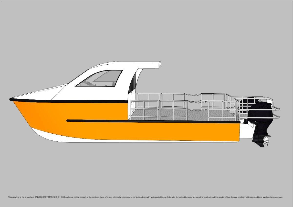 Sabrecraft Marine Work Boat Half Cabin 9.00 Meter Catamaran Wet Deck