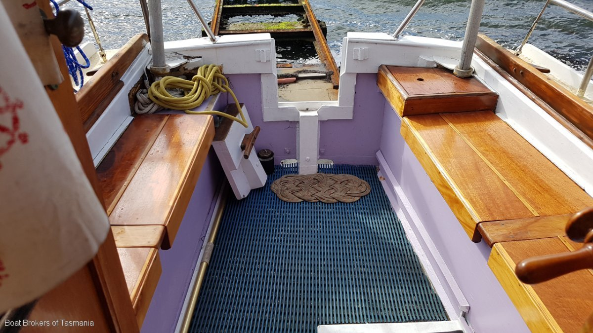 Geoff Cuthbertson Motorsailer 33 foot Huon Pine. Max Creese designed.