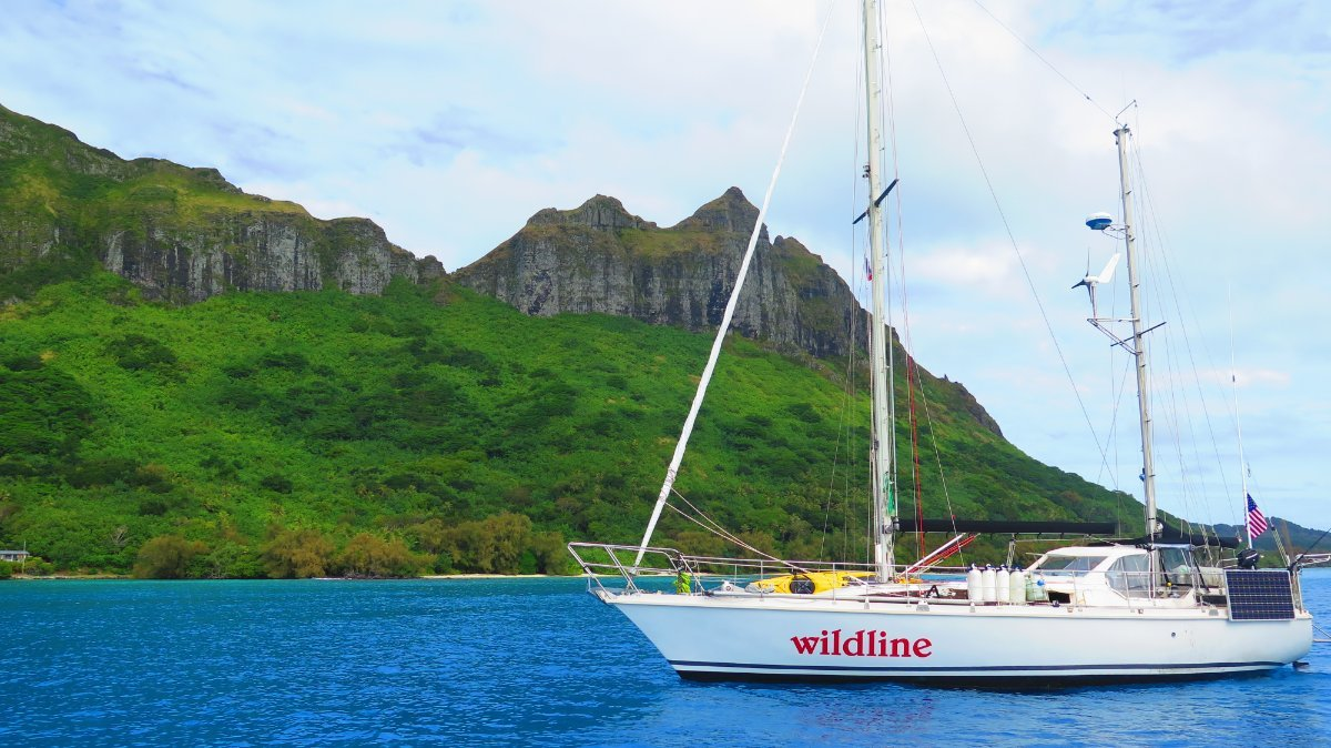 Amel Sharki:Anchored off Raivavae, French Polynesia after a month-long passage from New Zealand.
