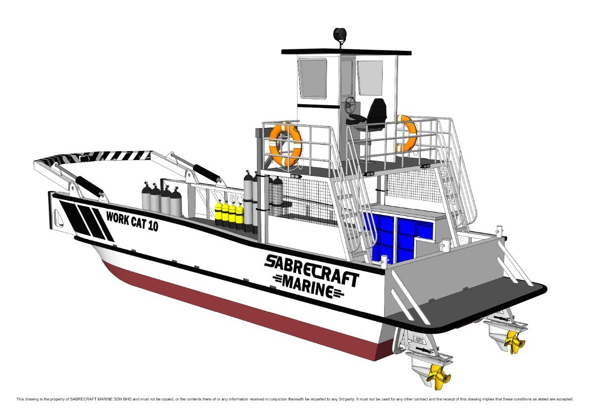 Sabrecraft Marine Landing Craft 10 x 3.5 Work Boat Barge + A Frame