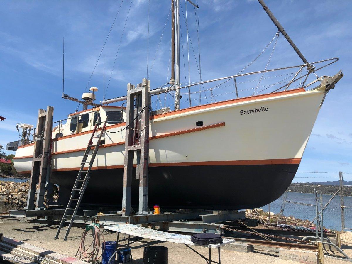 Pattybelle 44 foot Custom Huon Pine Motorsailer. Boat Brokers of Tasmania