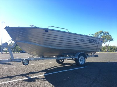 Ally Craft 4.95 Abalone Open fishing boat on trailer 60hp Yamaha