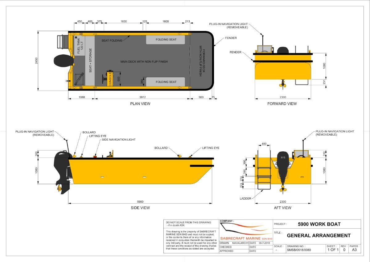 Sabrecraft Marine Work Boat 5900 Self Draining Deck