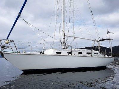 Roberts 36 sloop. Triple diagonal King Billy Pine.