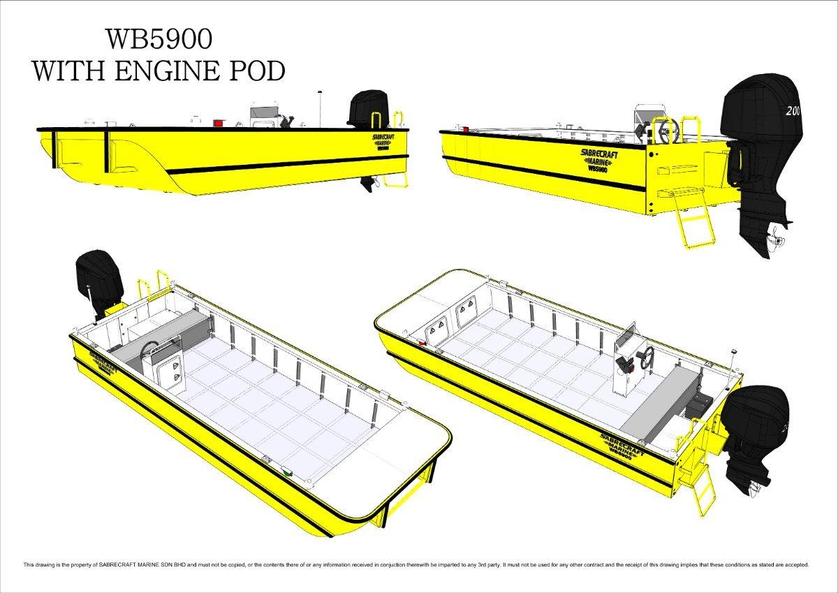 Sabrecraft Marine WB5900 Work Boat Punt - CE Approved