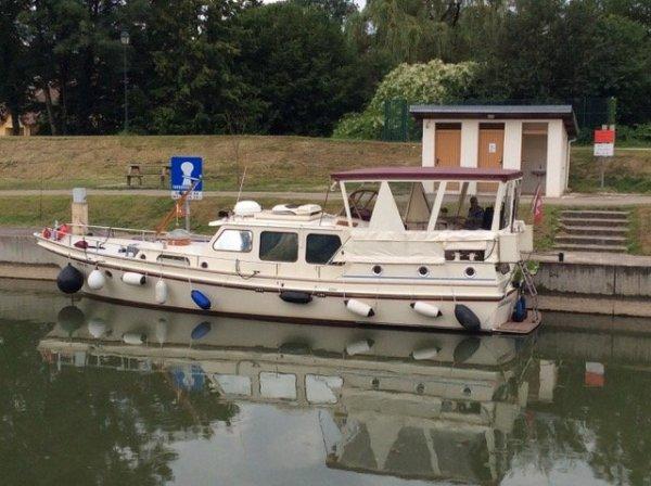 De Hoog Jacht Canal Boat Custom Liveaboard moored in France