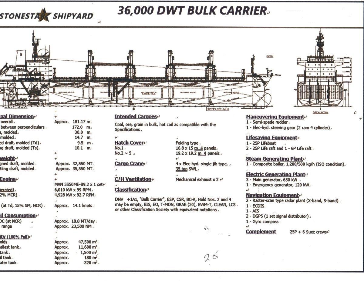 New Stonestar Shipyard 36,000 Dwt Bulk Carrier: Commercial Vessel