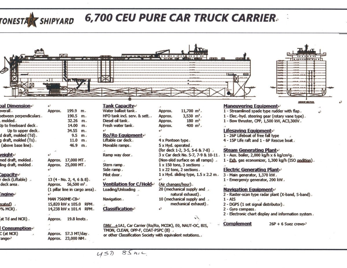 New Stonestar Shipyard 6700 CEU PURE Car/truck Carrier