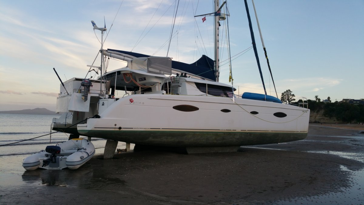 Fountaine Pajot Salina 48 4 cabin version:Allure getting cleaned in NZ