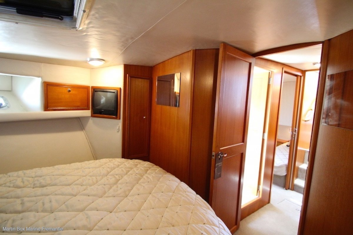 Riviera 43 Flybridge with a three cabin layout.