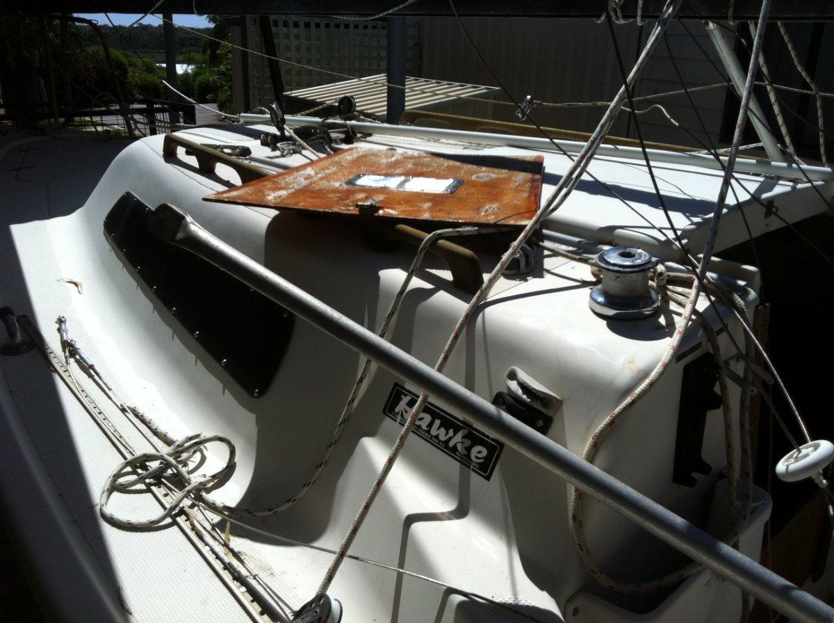 Sea Hawk (Hawke Bros. ) Drop Keel 6.4 metres. Red Sails