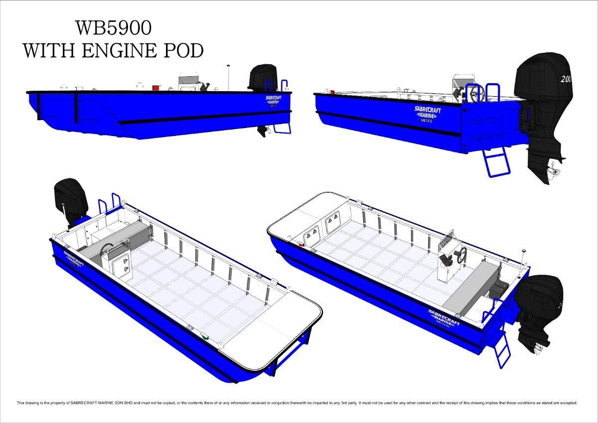 New Sabrecraft Marine WB5900 Oyster Farm Fish Farm Workboat Work Boat Punt