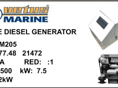 MARINE DIESEL GENERATOR 7.5kW VETUS M205