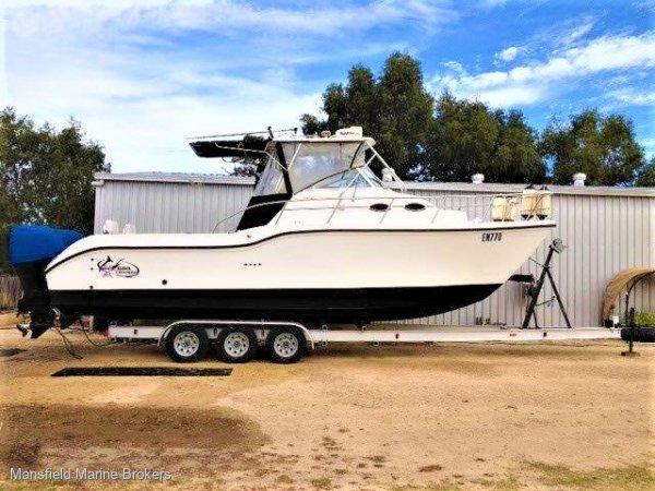 Baha Cruisers 296 King Cat hard top on trailer