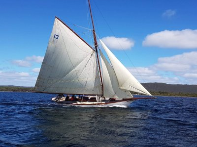 Classic gaff rigged yacht