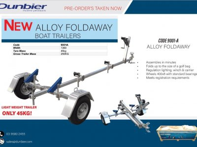 NEW DUNBIER ALLOY FOLDAWAY TRAILER - ONLY $ 1,890.00 INCL REGISTRATION