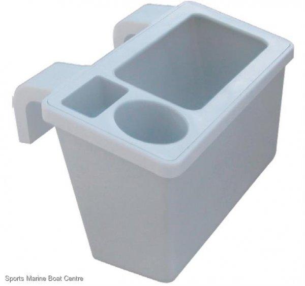 Gunwale Mounted Storage Bin with drink holder