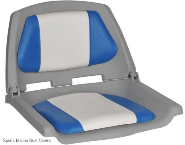 Padded Fishermans Upholstered Folding Boat Seat White With Blue