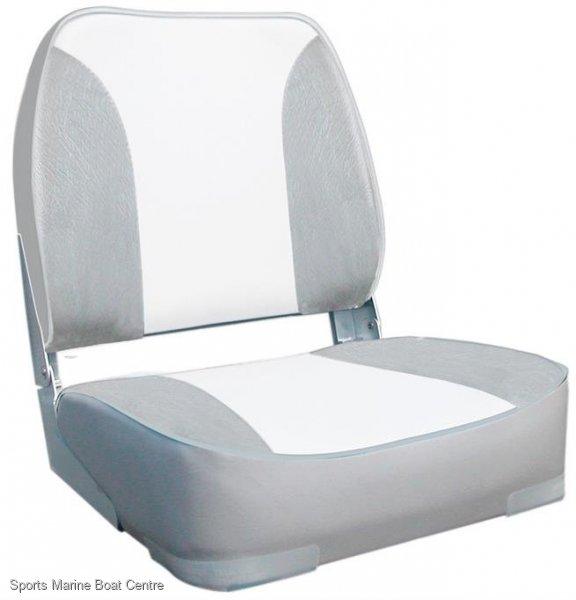 Deluxe Padded White Grey Upholstered Folding Boat Seat With Aluminium Hinge